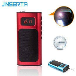 Chinese  JINSERTA Mini FM Radio Speaker Music Player with LED Light Charging Cable Support TF Card Aux Play manufacturers