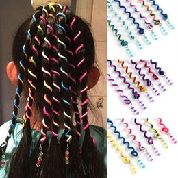 Ingrosso 6 Pz / lotto Treccia di capelli Bigodino colorato per gli strumenti per lo styling dei capelli della ragazza Festival Rullo cute carino accessori per lo styling