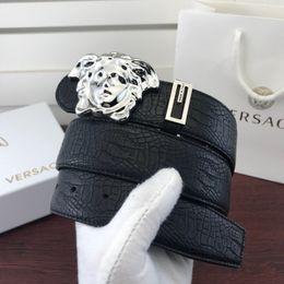 $enCountryForm.capitalKeyWord Australia - Beauty head, cowhide, crocodile, claw pattern, clear Mens Belt Authentic Official Belt With Box