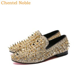 $enCountryForm.capitalKeyWord Australia - Chentel Bing Gold Spiked Rivets Loafers Men Casual Shoes Red Flats Bottoms Sequins Wedding Dress Shoes Men Slip On Two Style
