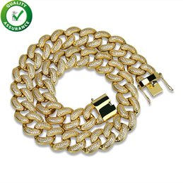 Mens Hip Hop Chains NZ - Iced Out Chains Hip Hop Jewelry Mens Luxury Designer Gold Necklace Micro Paved Diamond Bling Miami Curb Cuban Link 28mm Wedding Accessories