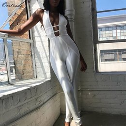 bandage jumpsuits Australia - Ocstrade Sexy Bandage Jumpsuit 2019 New Fashion Hollow Out Bandage Jumpsuit White Rayon High Quality Jumpsuits Bandage Women T5190614