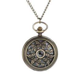 China Hot Fashion Personalized Pattern Steampunk Vintage Quartz Roman Numerals Pocket Watch Pendant Chain Necklace round case Watch # cheap pocket watch case roman numerals suppliers