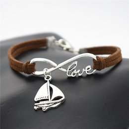 $enCountryForm.capitalKeyWord Australia - Vintage Punk Infinity Love Sailing Ship Sail Boat Sailboat Amulet Dark Brown Leather Suede Bracelet For Woman Or Men Braided Fashion Jewelry