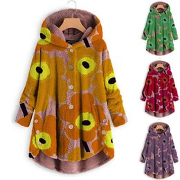 $enCountryForm.capitalKeyWord Australia - Fashion Women Button Coat Tops Printing Fluffy Tops Hooded Pullover Loose Sweater Coat Novelty Long Jacket Ladies Clothing