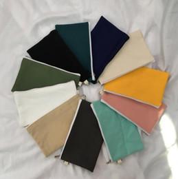 $enCountryForm.capitalKeyWord NZ - Coloful blank canvas zipper Pencil cases pen pouches cotton cosmetic Bags makeup bags Mobile phone clutch bag organizer