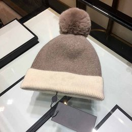 Cashmere Beanies Australia - 2018 new popular hat women pure cashmere hat double color patchwork ball ball hat luxury caps lasetest skull caps woman beanie free shipping