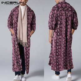 Wholesale leopard trench coat men resale online - Men Personality Leopard Print Sleeve Trench Cardigan Fashion Street Trend Chic Baggy Mens Casual Windbreaker Coats INCERUN