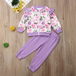 PurPle flower canvas online shopping - Kids Girls Tracksuit Autumn Spring Toddler Baby Girl Floral Printed Outfits Long Sleeve Ruffles Top T shirt Pants Casual Clothes