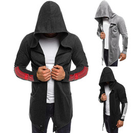 sweatshirt hoodie assassin's creed NZ - Men's long hoodies Dark Black Men's Hooded Print Assassin's Creed Sweatshirt cotton blend thin fashion men clothings Size M-3