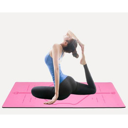 Blue Gymnastics Mats Australia - 183*68 CM Position line Fitness Yoga Mat Natural Rubber Non-slip PU Exercise Gymnastics Sport Workout Yoga Yapete With Strap