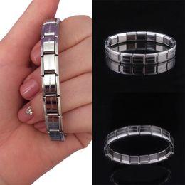 Großhandel Charming Steel 1PC Armband Verkauf Edelstahl Armreif elastische Frauen Männer Schriftzug
