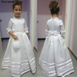 flower girls short lace dresses Canada - 2020 Vintage Princess Lace Beaded Flower Girl Dresses With Short Sleeves High Neck Birthday Party Graduation Dress Toddlers Kids Communion