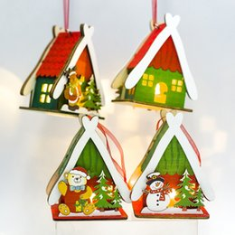 $enCountryForm.capitalKeyWord Australia - Christmas Colorful Painting Small Wood House Christmas Tree Hanging Decoration With Light Decor Home Kerst Decoratie