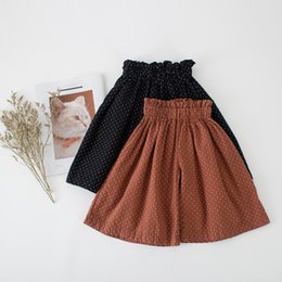 kids stylish clothing 2019 - Dots Ruffle Edge girls wide leg Loose pants stylish Kids Casual Pants Children's Clothing Clothes discount kids sty