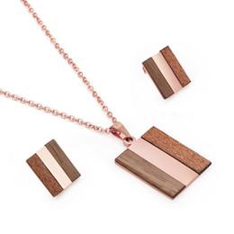 $enCountryForm.capitalKeyWord Australia - Wood Strip Pendant Necklace And Earring Set For Women Ladies Rose Gold Luxury Jewelry Sets