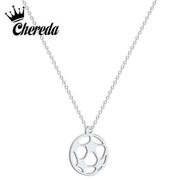 $enCountryForm.capitalKeyWord UK - Chereda Unique Origami Football Necklace for Women Hollow Round Charm Chain Necklaces Jewelry Sport Lover Accesorios Mujer
