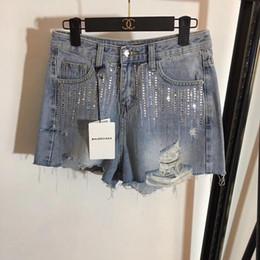 bl dress 2019 - summer dresses women shorts jean shorts pantalones cortos Hot drilling tassel irregular hole fashion jeans girls jeans w
