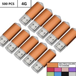 $enCountryForm.capitalKeyWord Australia - Wholesale Bulk 500PCS 4GB USB Flash Drives Rectangle Flash Pen Drives Memory Sticks Thumb Storage for Computer Macbook LED Indicator U Disk