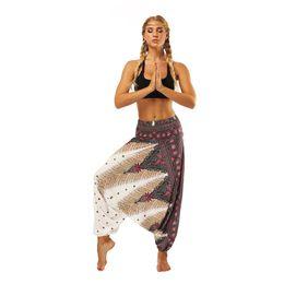 $enCountryForm.capitalKeyWord Australia - Stylish Ethnic Style 3D Print India Belly Dance Pants Wide Leg Loose Yoga Trousers Women Fitness Pants