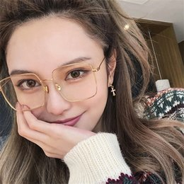 d394645c25d92 Cubojue Transparent Glasses Women 150mm Oversized Eyeglasses Frame Woman  Men Nerd Prescription Spectacles Clear Lens Fashion