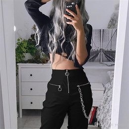 fly chains NZ - Women Gothic Pants harajuku zipper streetwear casual harem pants with chain solid black cool fashion hip hop long trousers capris