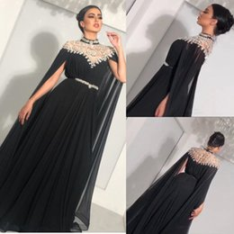 $enCountryForm.capitalKeyWord NZ - Glitter Crystal Evening Dresses Long Cape Sleeve High Neck Rhinestone Floor Length Plus Size Cheap A Line Chiffon Prom Party Gowns With Sash