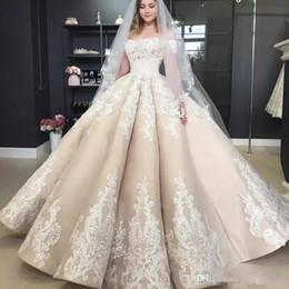 Урожай Puffy Empire Шампанское Свадебные платья с плеча Аппликация 2019 с плеча Полная длина Церковный сад Принцесса свадебное платье