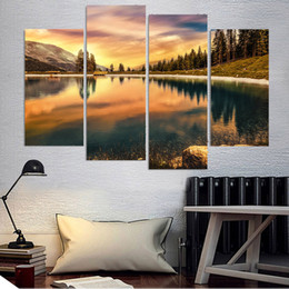 $enCountryForm.capitalKeyWord Australia - Modern Painting Style Wall Modular Pictures For Living Room 4 Panel Fire Sky Forest Landscape Art Canvas Cuadros Framework Decoration