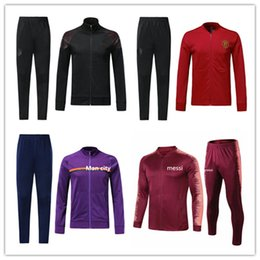 Full Zip Jacket Polyester Australia - 18 19 utd Lukaku pogba city KUN AGUERO football training suit 2018-19 MESSI tracksuit full zip soccer jacket sportswear