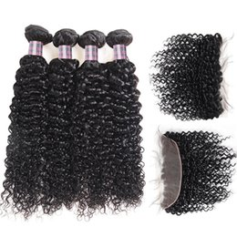 Human Hair Lace Weave Australia - Peruvian Hair Weave Brazilian Human Hair Bundles With Closure Kinky Curly 4pcs With Lace Frontal Virgin Hair Extensions