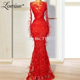 $enCountryForm.capitalKeyWord UK - Red Applique Feather Evening Dresses Formal Dubai Kaftans 2019 Turkish Muslim Party Gowns Robe De Soiree Mermaid Prom Dress New