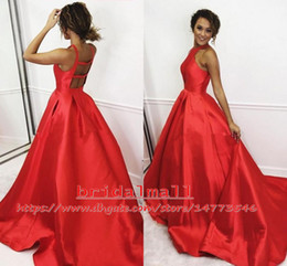 white gown red roses Australia - Red Satin Ball Gown Prom Dresses 2019 Simple Backless Graduation Dress Rose Cocktail Party Dress Keyhole Neck Long Formal Evening Gowns