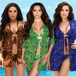 c5898dce5d5b4 2019 summer new women's swimwear print leopard print peacock split swimsuit  + sleeveless jacket three-piece suit sexy