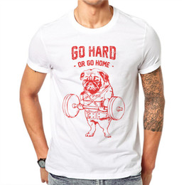 $enCountryForm.capitalKeyWord NZ - 100% Cotton Summer Men Kawaii Cartoons T-shirts Cute Pug Bulldog Dog Weightlifting Short Sleeve T Shirt Tee White Tops Plus Size