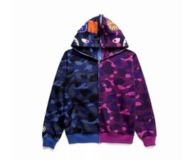80ec9d6f32fc Bape Shark Jacket UK - G215aape Men  s Shark Mouth Print Camo Hoodies  Teenager