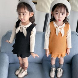 0258b76f6952 2019 new girls dress baby clothes spring and autumn suit knit dress  two-piece set 1-4 years old female casual suit