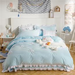 Yellow Blue Bedding Australia - Blue Pink thick fleece winter cute Bedding set king queen twin size kids girls Bed set Bedsheet Clouds Duvet cover pillowcases