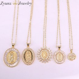mary jesus pendant Australia - 5PCS, Gold Color Jesus   Mary of Virgin Design Pendant Necklace