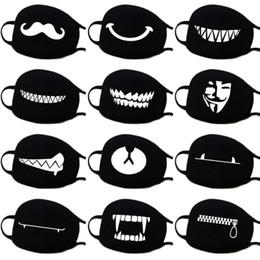 Опт 13 видов моделей женщина мужчины мода мультфильм смешной черный хлопок черный рот половина лица мягкий анти-туман анти-пылезащитная маска
