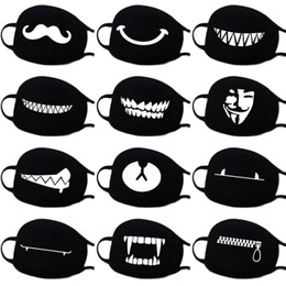 $enCountryForm.capitalKeyWord Australia - 13 Kinds Of Patterns Woman Men Fashion Cartoon Funny Black Cotton Black Mouth Half Face Soft Anti-fog Anti-dust Mask