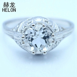 Discount silver ring 925 engraved - Sterling Silver 925 8mm Round Cut White Topaz Ring Art Deco Engagement Vintage Antique Engrave Wedding Ring For Women S6