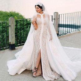 MerMaid wedding dresses high online shopping - 2019 Lace Mermaid Wedding Dresses Detachable Train High Collar Long Sleeve Front Split Abric Dubai Bridal Gown vestidos de novia