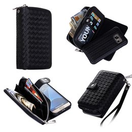 Note5 Wallet Australia - Zipper Wallets Phone Case for Samsung S5 S6 S6edge+ S7 S7edge Note4 Note5 Card Holder Lanyard Removable Back Case for iPhone 5 5S SE X XS