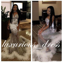 Tulle Feathered Prom Dresses Australia - African Silver Mermaid Prom Dresses 2019 Sweetheart Neck Lace Applique Sweep Train Plus Size Sequins Feather Evening Gowns robes de soirée