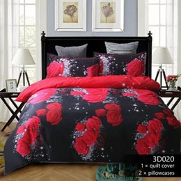 rose white cover Australia - Home Textile 3D Rose Flower Bedding Set Flower Printing 3Pcs set Bed Duvet Cover Bed Sheet Pillowcase Queen Size Dropship