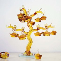 Crystal Lucky Tree Australia - 1 pcs Feng Shui Crafts Chinese Yellow Crystal Glass Gold Ingots Tree Paperweight Lucky Home Decoration Family Fashion Gift