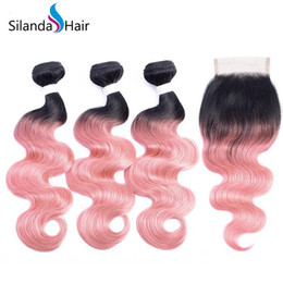Rose Remy Australia - Silanda Hair Ombre Color Colored #T 1B Rose Gold Body Wave Brazilian Remy Human Hair Weaving Bundles With 4X4 Lace Closure Free Shipping