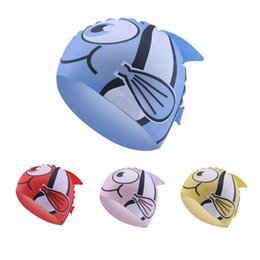 $enCountryForm.capitalKeyWord Australia - Cartoon Swimming Cap Children Waterproof Animal fish Print kids swim caps silicone Swimming hat