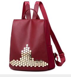 Styles Backpacks Australia - New style backpack waterproof shoulder bag Fashion rivets handbag package messenger bag Laptop Cases